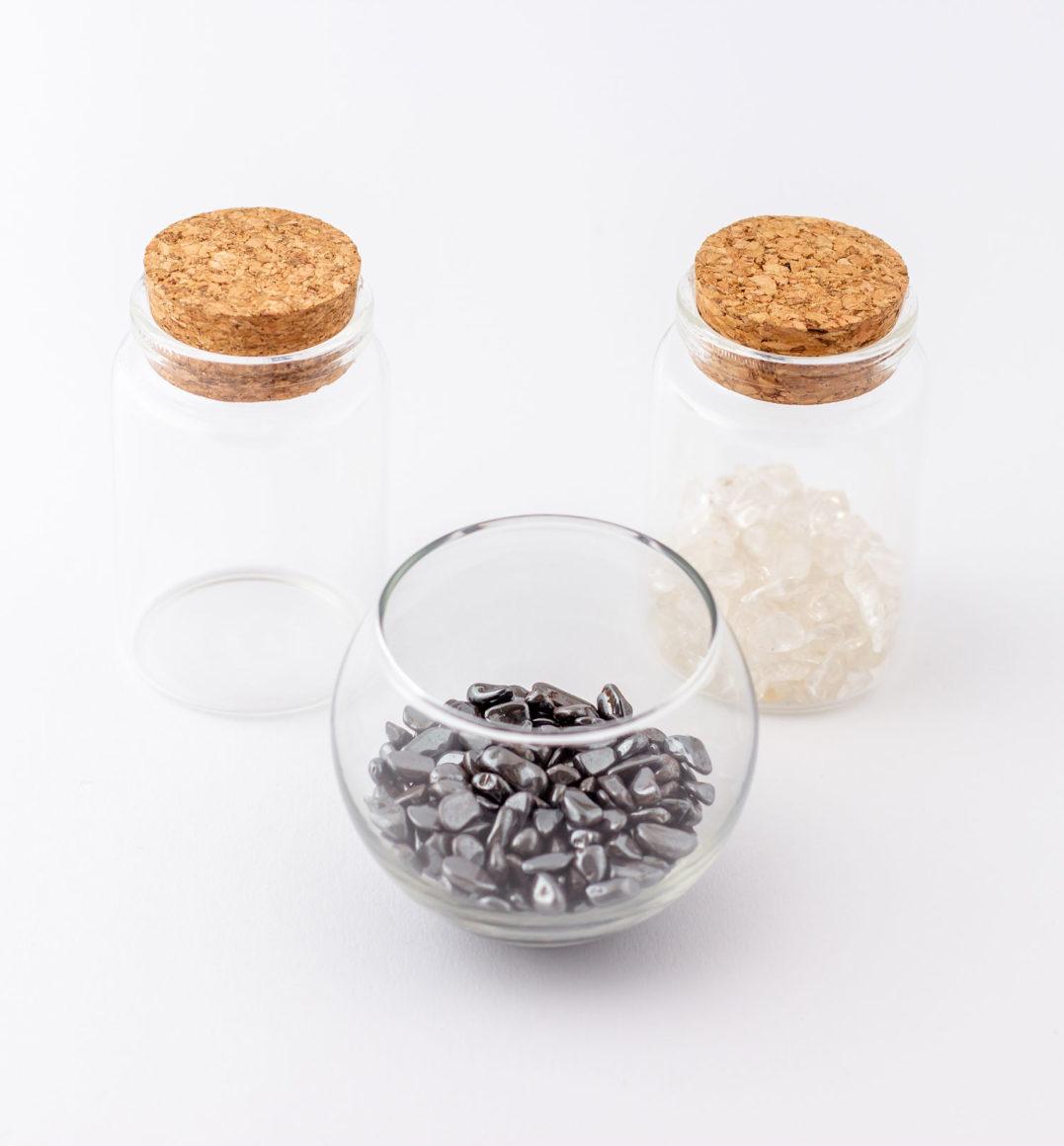 Heilstein Pflegeset mit Bergkristall und Hämatit Trommelsteinen