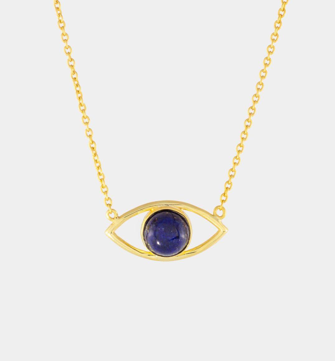 Evil Eye Halskette in Gold mit Lapislazuli