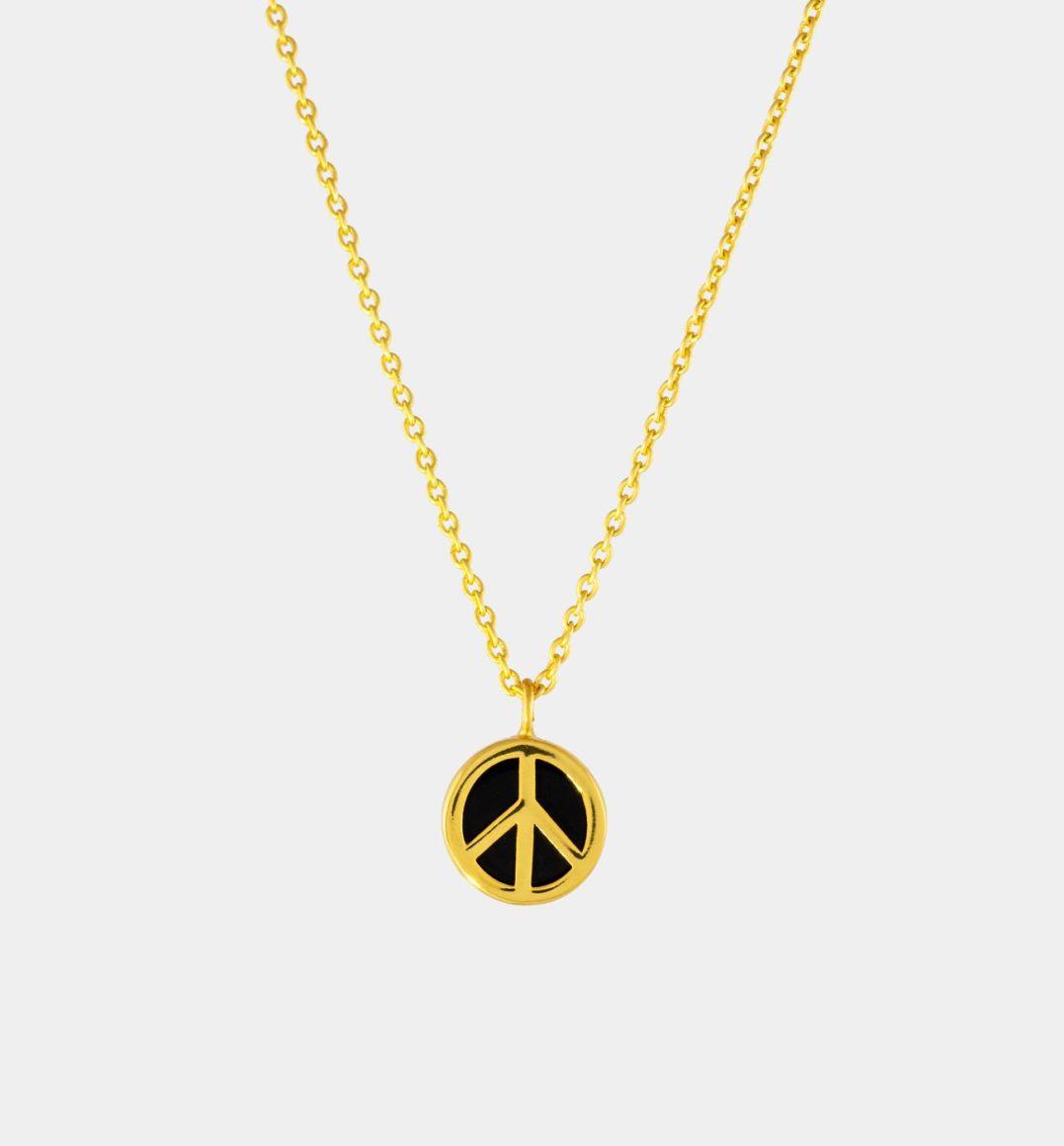 Halskette mit Peace Symbol und schwarzem Onyx