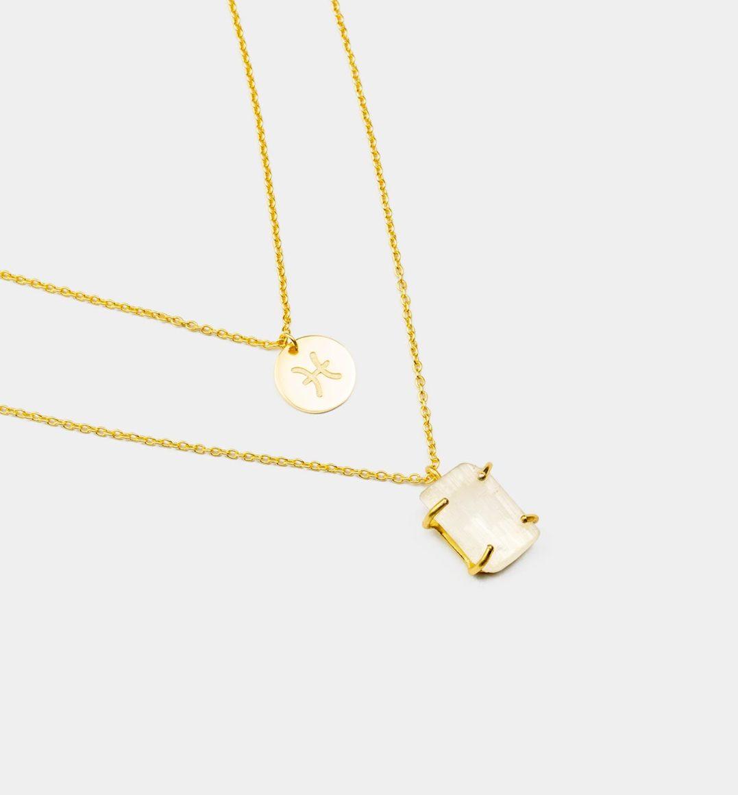 Geburtsstein Kette des Sternzeichen Fische mit Girasol und Symbol