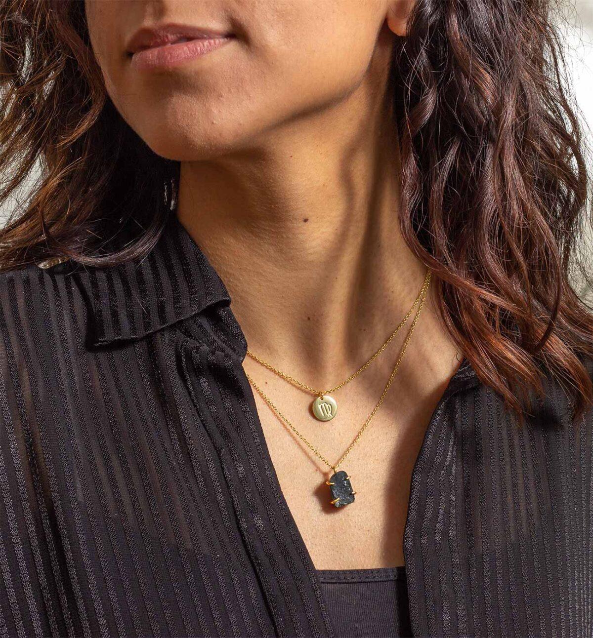 Geburtsstein Kette des Sternzeichen Jungfrau mit Serpentin und Symbol