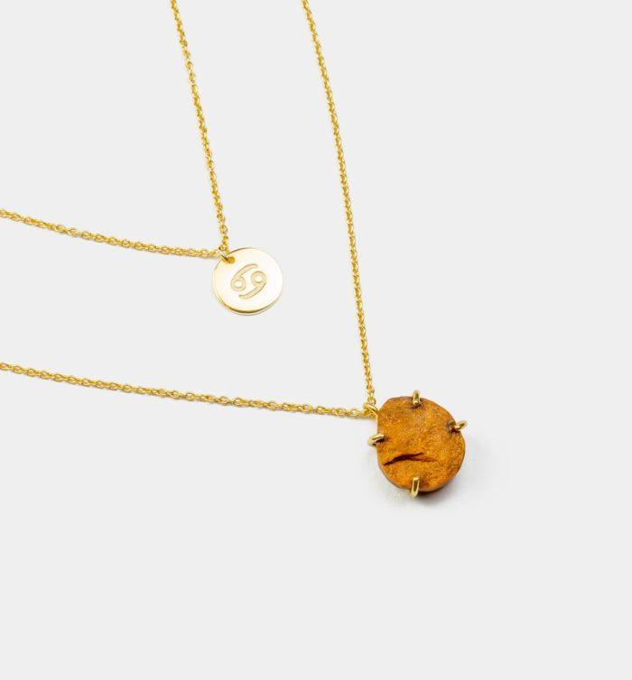 Geburtsstein Kette des Sternzeichen Krebs mit Gelber Jade und Symbol