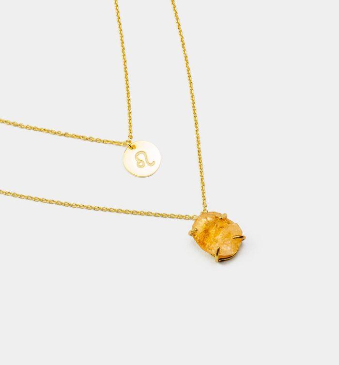 Geburtsstein Kette des Sternzeichen Löwe mit Citrin und Symbol