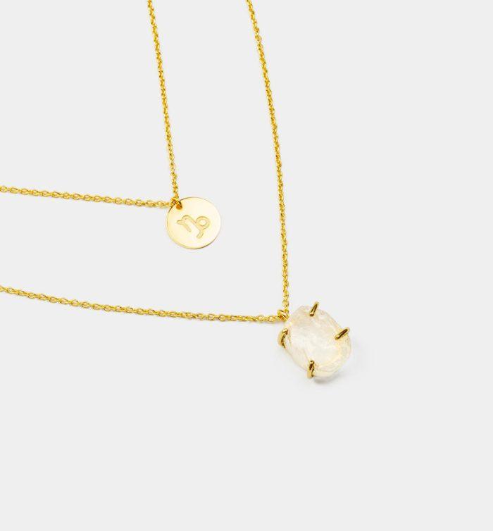 Geburtsstein Kette des Sternzeichen Steinbock mit Bergkristall und Symbol