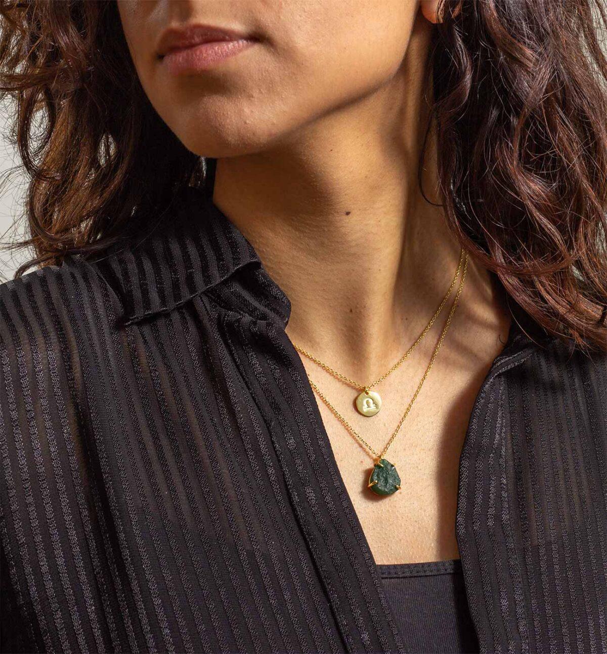 Geburtsstein Kette des Sternzeichen Waage mit Grüner Jade und Symbol