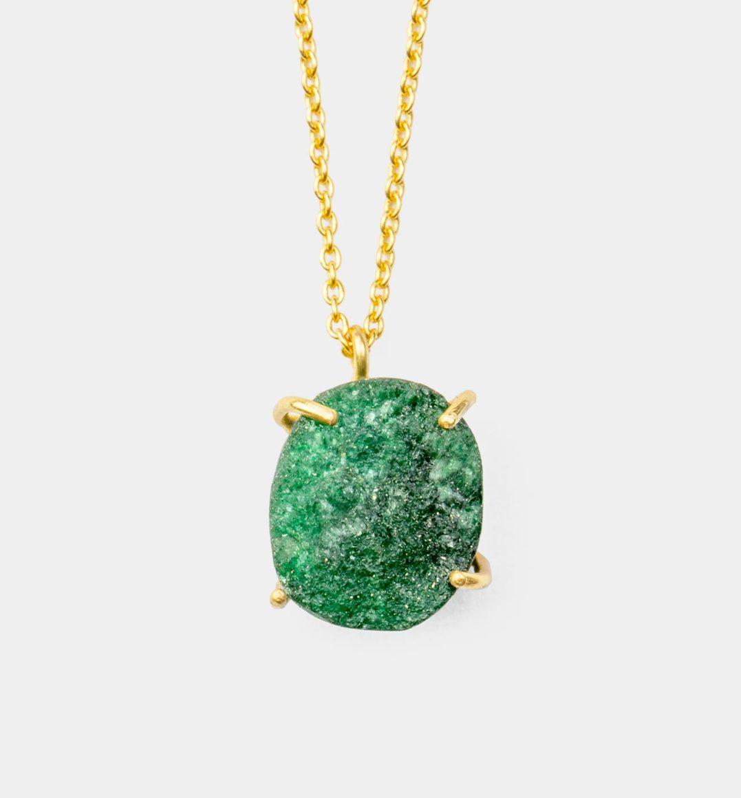 Geburtsstein Kette des Sternzeichen Waage mit Grüner Jade