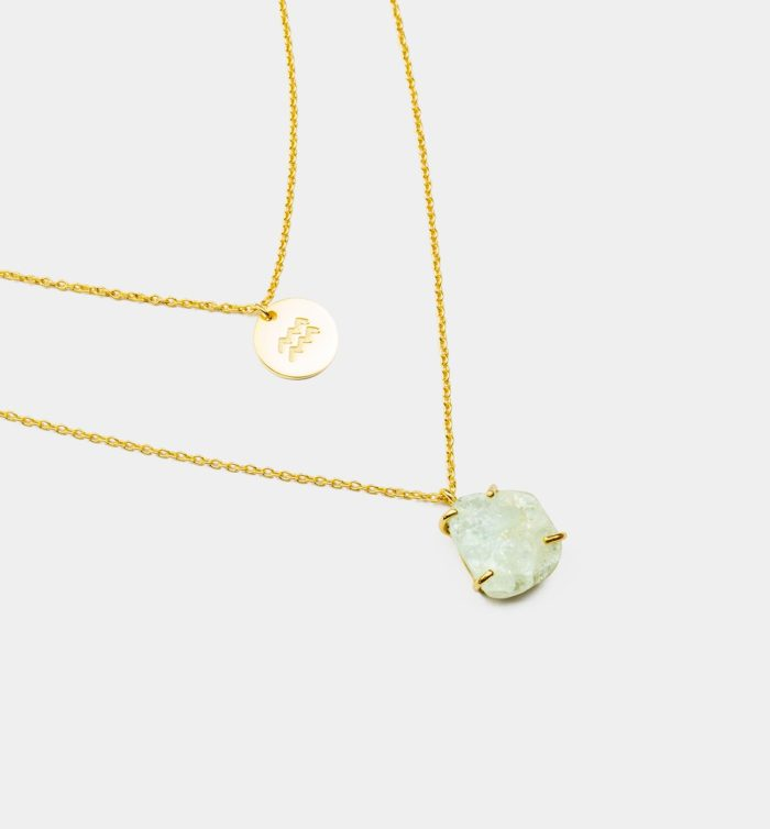 Geburtsstein Kette des Sternzeichen Wassermann mit Aquamarin und Symbol
