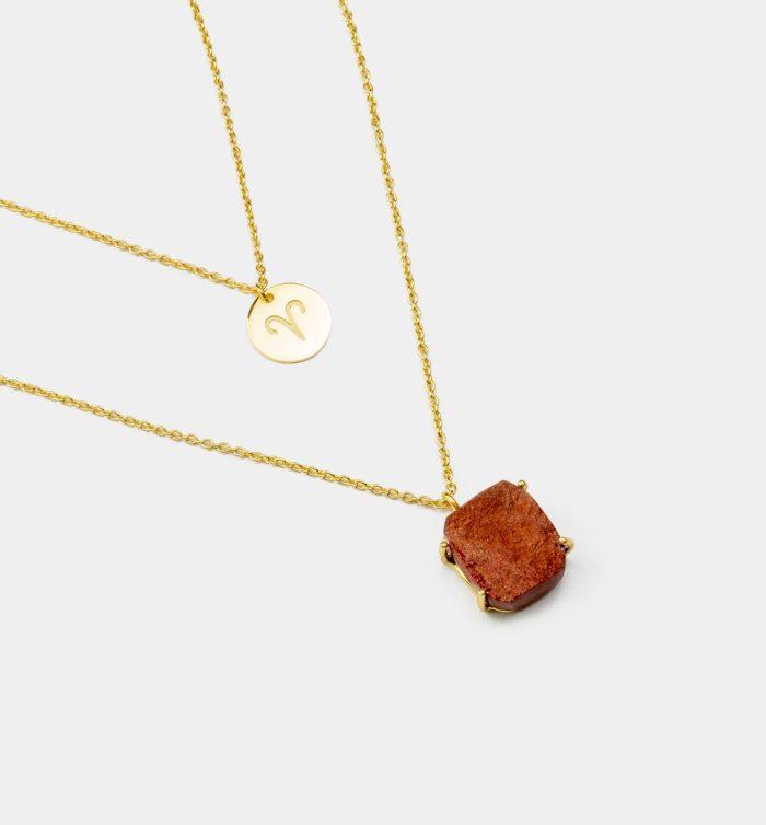 Geburtsstein Kette des Sternzeichen Widder mit Rotem Jaspis und Symbol