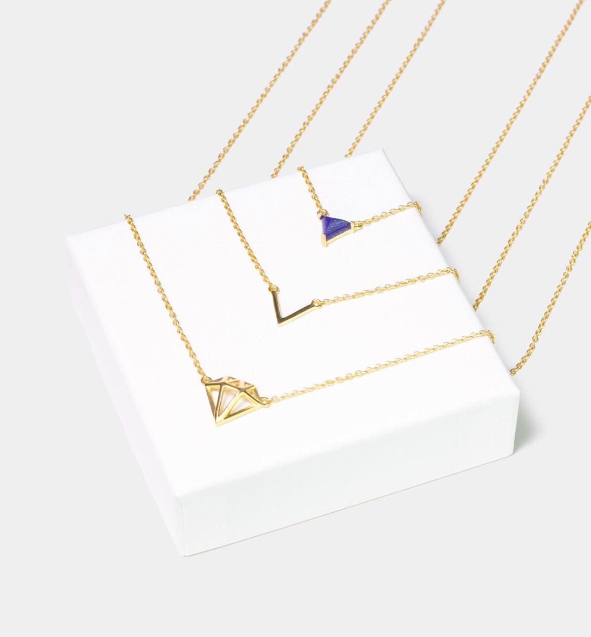 Diamond Layer Kette mit Lapislazuli