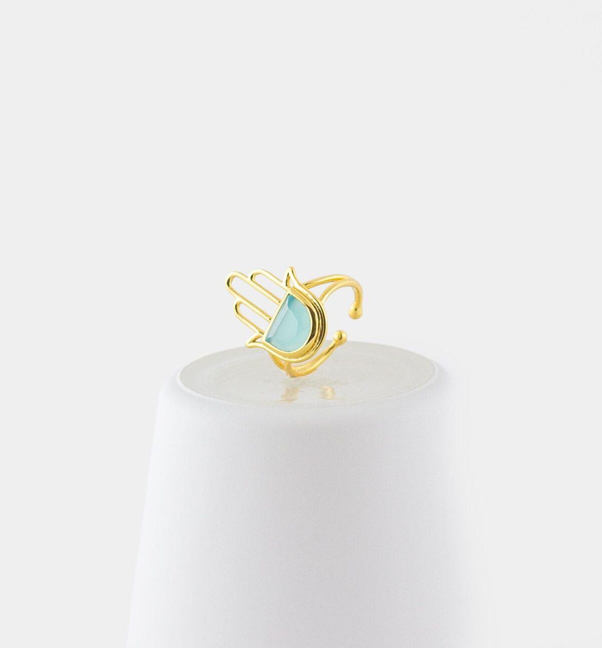 Hamsa Ring mit Aqua Chalcedon